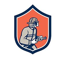 Fireman Firefighter Fire Hose Circle Retro by patrimonio
