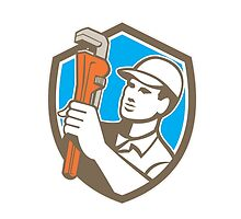Plumber Holding Wrench Shield Retro by patrimonio