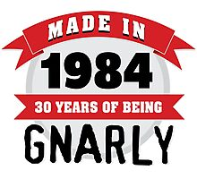 Awesome 'Made in 1984, 30 Years of Being Gnarly' T-Shirt Photographic Print