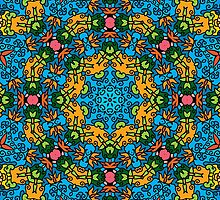 Psychedelic jungle kaleidoscope ornament 25 by Andrei Verner
