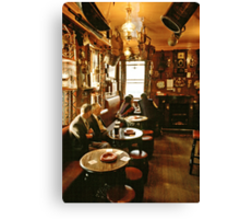 "Early evening in the ""Olde Ship Inn"", Seahouses, 1980s, NE England. Canvas Print"