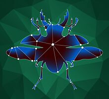 beautiful polygonal beetle on a green background by Ann-Julia