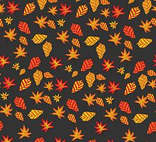 seamless pattern with autumn leaves on a dark background by Ann-Julia