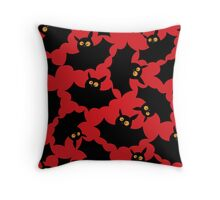 Halloween seamless pattern with funny bats. Throw Pillow