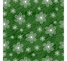 seamless pattern with flowers on a green background grunge Photographic Print