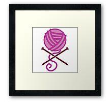 Knitter ball of wool pirate knitter crossbones (purple) Framed Print
