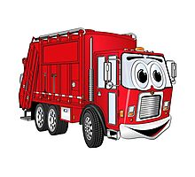 Red Smiling Garbage Truck Cartoon Photographic Print