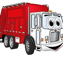 Red White Smiling Garbage Truck Cartoon by Graphxpro