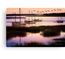 Boats at Anchor~ Evening Tranquility Canvas Print
