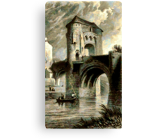 A digital painting of Raglan Castle Gateway and Bridge, Monmouthshire, Wales in 1853 Canvas Print
