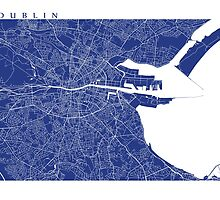 Dublin Map (French Blue) by CartoCreative