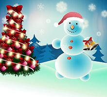 Snowman and Christmas tree by AnnArtshock
