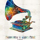 Colorful Phonograph Art by Sharon Cummings by Sharon Cummings