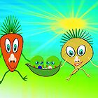 Mr Carrot, Mrs Sugarbeet and 2 Little Peas in a Pod by Dennis Melling