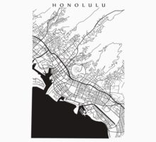 Honolulu Black and White Map Kids Clothes