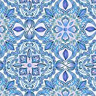 Cornflower Blue, Lilac & White Floral Pattern by micklyn