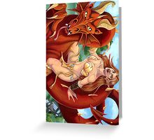 Red Dragon and Elf Warrior Greeting Card