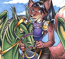 Dragon Rider Fox by cybercat