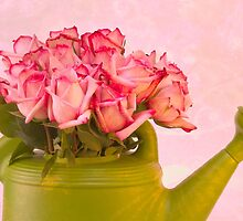 Pink Roses In Green Watering Can by Sandra Foster
