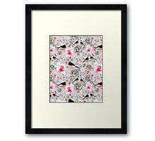 Flower texture with birds in love Framed Print