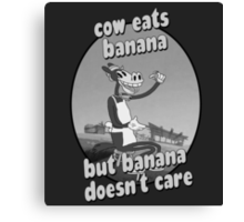 Cow Eats Banana Canvas Print
