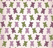 Adorable purple pink teddy bear design in camouflage theme 1  by designinsimple