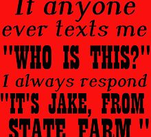 """IF ANYONE EVER TEXTS ME """"WHO IS THIS?"""" I ALWAYS RESPOND """"IT'S JAKE FROM STATE FARM."""" by Divertions"""