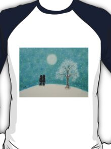 Soul Mates in Snow with Tree and Moon T-Shirt
