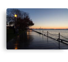 Wet Boardwalk - a Clear Morning After the Rain Canvas Print