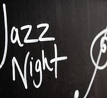 Jazz Night advertisement sign on blackboard by Stanciuc