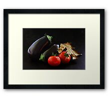 Eggplant and Tomato still life Framed Print