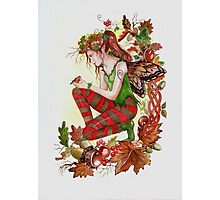 Autumn fairy with robin Photographic Print