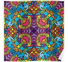 Psychedelic jungle kaleidoscope ornament 32 Poster