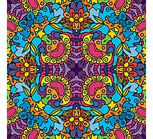 Psychedelic jungle kaleidoscope ornament 32 Photographic Print