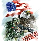 Native american art, american soldier picture for sale. by Mariusz Szmerdt