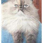 Persian cat watercolor by Mike Theuer