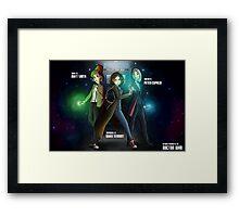 Group Doctor Who (Capadi, Smith, Tennant) Vs Disney Princess (Raiponce, Mulan, Ariel) Framed Print