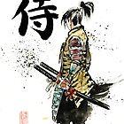 Samurai sumi/watercolor with calligraphy by Mycks