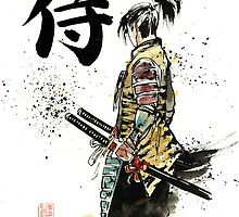Samurai sumi/watercolor with calligraphy by Mycks