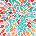 Radiant Dahlia - teal, orange, coral, pink watercolor pattern by Tangerine-Tane
