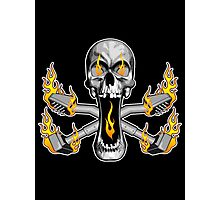 Flaming Carpet Installer Skull Photographic Print