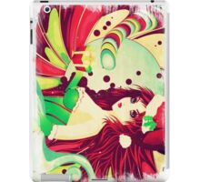 Grunge candy background with Santa girl iPad Case/Skin