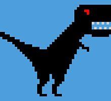 Pixelsaurus Rex in Black by wearmoretees