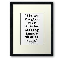 Oscar Wilde Enemies Framed Print