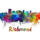 Richmond skyline in watercolor by paulrommer