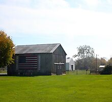 BARN WITH US FLAG by Pauline Evans
