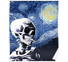 Skull with burning cigarette on a Starry Night Poster