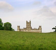 Green rolling hills towards Downton abbey by miradorpictures