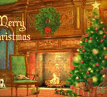 Fireplace Christmas Card - Merry Christmas by solnoirstudios