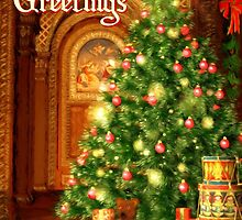Tree and Presents Christmas Card - Seasons Greetings by solnoirstudios